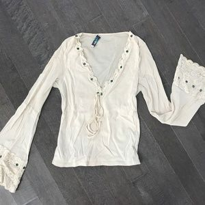 Vintage Bohemian Bell Sleeve Lace Cream  Blouse